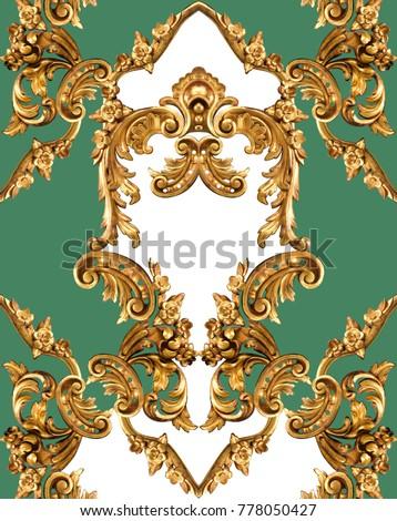 golden baroque ornament Royalty-Free Stock Photo #778050427