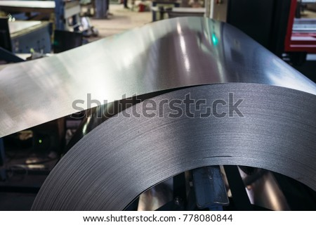Roll of galvanized steel sheet. Close up view. #778080844