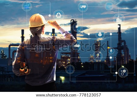 Double exposure of Engineer with oil refinery industry plant background,  industrial instruments in the factory and physical system icons concept, Industry 4.0 concept image #778123057