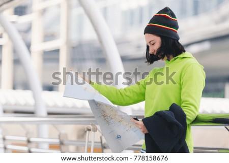 Portrait beautiful young girl russian enjoying smell traval in winter bangkok city thailand #778158676
