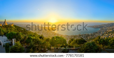 Image from Lady of Lebanon monument.Sunst panorama.Top of the Haris hill.Maria. Royalty-Free Stock Photo #778170181