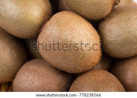 Group of fresh kiwi macro photo  #778238566