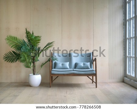 Spacious wooden living room designed with blue vintage sofa, tropical plant in pot and big window. Scandinavian interior styled photo #778266508