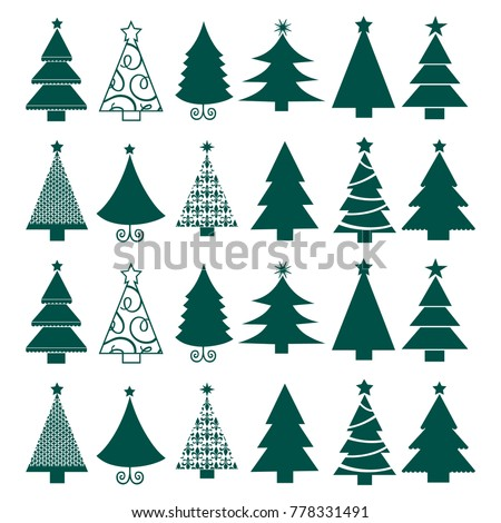 Vector seamless Christmas tree backgrounds. Winter holidays symbols. Christmas and New Year concept New Year's background.Design for banner, packing paper, postcard, poster. Vector illustration. #778331491