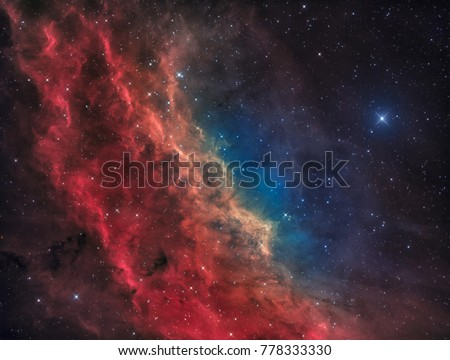 The California Nebula in the Constellation of Perseus with the bright Star Menkib Royalty-Free Stock Photo #778333330