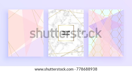 Set abstract geometric designs posters in gold, glitter, cream, light blue, pastel pink and marble texture background. Vector trendy geometric posters.  Template for invitation card or poster design