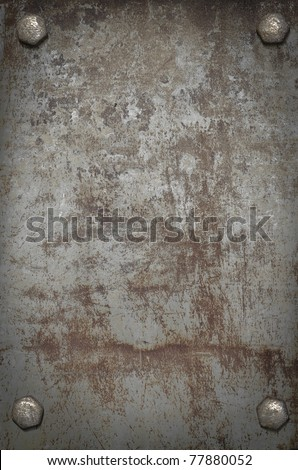 grunge background  metal plate with screws #77880052