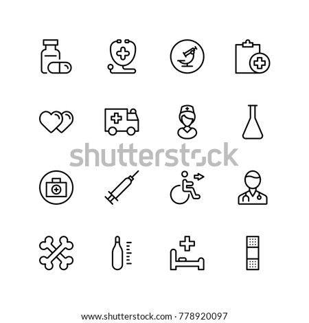 Pharmacy icon set. Collection of high quality black outline logo for web site design and mobile apps. Vector illustration on a white background.