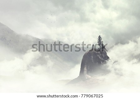 man of the top of the mountain in the fog Royalty-Free Stock Photo #779067025