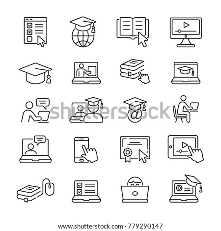 Online Education: thin vector icon set, black and white kit  Royalty-Free Stock Photo #779290147
