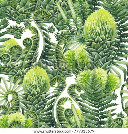 Watercolor seamless pattern with prehistoric plants. Hand painted exotic design #779313679