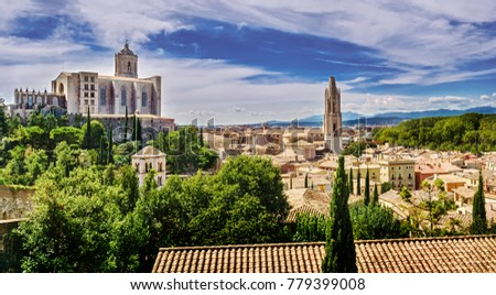 Symbols of Girona: the Cathedral of St. Mary, the Church of St. Felix, the monsters of St. Peter Galligans (archaeological museum), the medieval city, Girona, Catalonia, Spain.  #779399008