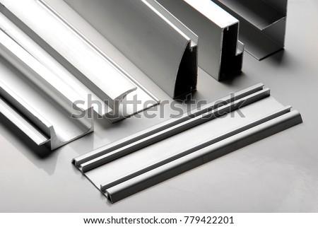 Aluminum profile for window, door, bathroom box Royalty-Free Stock Photo #779422201