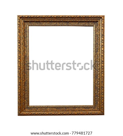 Close up old vintage picture frame isolated on white with space use for products or texts display #779481727