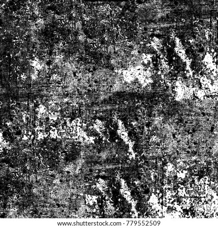 Grunge black white. Monochrome abstract texture. The pattern of cracks, stains, chips, lines for printing. The dark background of vintage elements for design #779552509