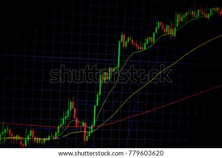 Candle stick graph chart with indicator showing bullish point or bearish point, up trend or down trend of price of stock market or stock exchange trading, investment and financial concept. thin focus. #779603620