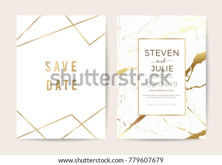Luxury wedding invitation cards with gold marble texture and geometric pattern vector design template Royalty-Free Stock Photo #779607679