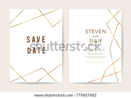 Luxury wedding invitation cards with gold geometric pattern vector design template