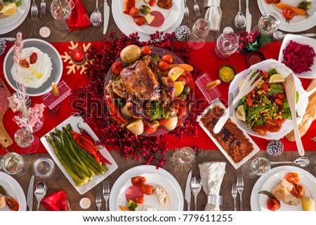 Table served for Christmas dinner #779611255