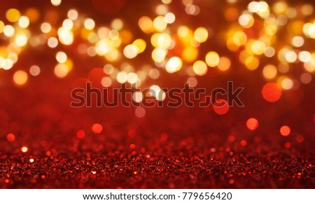 Christmas light background.  Holiday glowing backdrop. Defocused Background With Blinking Stars. Blurred Bokeh. #779656420