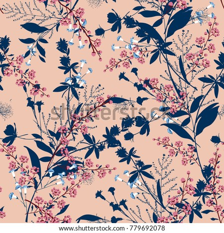 Trendy  Floral pattern in the many kind of flowers. Tropical botanical  Motifs scattered random. Seamless vector texture. For fashion prints. Printing with in hand drawn style on peach background. #779692078