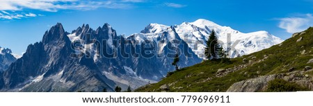Astonishing view of the Mont Blanc mountain range during the summer. With it's beautiful glaciers, high peaks and easy treks, Mont Blanc is one of the most visited mountain in the world. #779696911