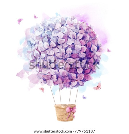 Watercolor print  with purple  aerostat balloon flowers, hydrangeas  lilac ball, watercolor stains and delicate flying butterfly