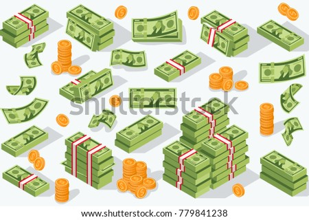 Money currency illustration. Various money bills dollar cash paper bank notes and gold coins. Collection of cash heap pile and currency stack set. #779841238