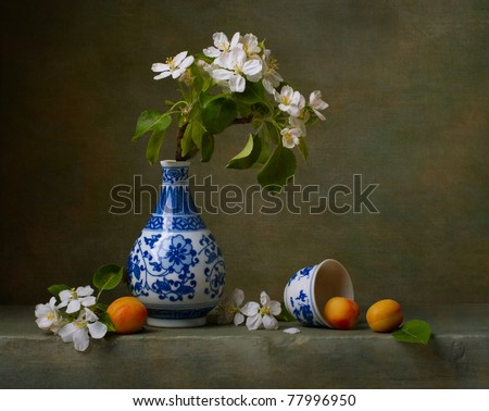 Still life with flowers of apple and apricots #77996950