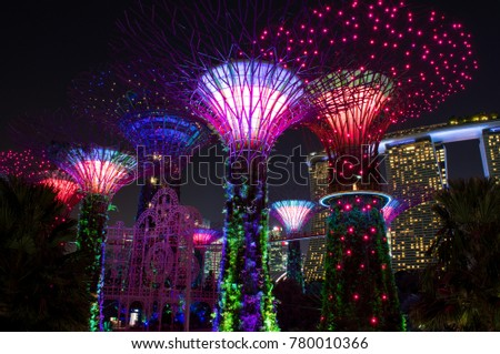 SINGAPORE - NOVEMBER 7, 2017: view of the Gardens by the Bay Supertrees during it's lightshow. This show occurs everyday and attracts a lot of tourists and local residents. #780010366