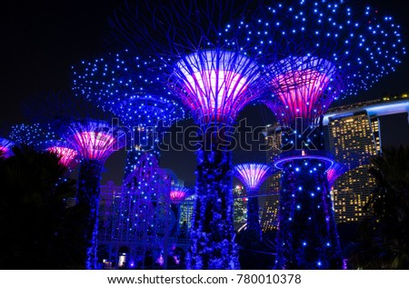 SINGAPORE - NOVEMBER 7, 2017: view of the Gardens by the Bay Supertrees and it's lightshow during the evening. This show occurs everyday and attracts a lot of tourists and local residents.  #780010378