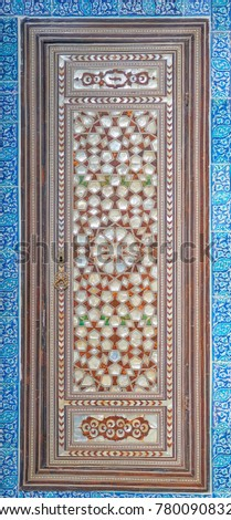 ISTANBUL, TURKEY, MARCH 30, 2015: Door decoration by mother of pearl #780090832
