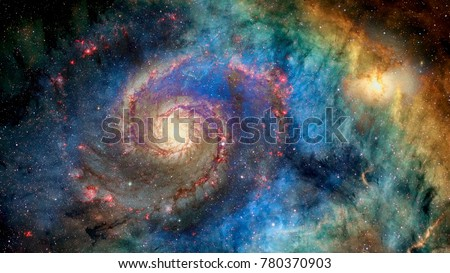 Awesome spiral galaxy many light years far from the Earth. Elements furnished by NASA Royalty-Free Stock Photo #780370903