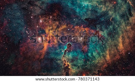 Nebula and galaxies in deep space. Elements of this image furnished by NASA. Royalty-Free Stock Photo #780371143
