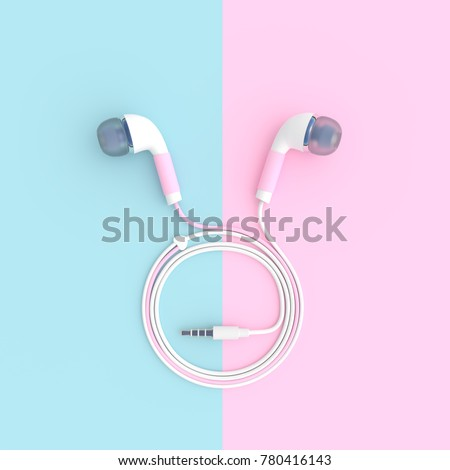 pink earphone on blue and pink pastel color background with clipping path and copy space, 3D render.