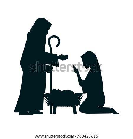 holy family silhouette christmas characters