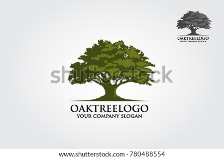 Oak tree logo illustration. Vector silhouette of a tree. Royalty-Free Stock Photo #780488554