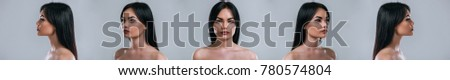 Five angle view of a young attractive woman face on grey background. Women care. Royalty-Free Stock Photo #780574804