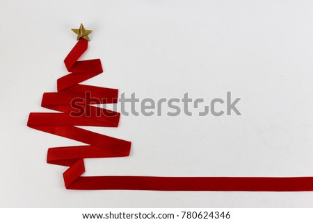 christmas tree made from ribbon on white background. christmas day concept. #780624346