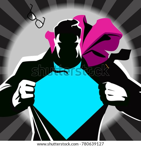 Superman tearing his shirt. Vector illustration. Silhouette