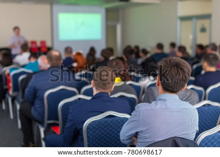 The image of a conference in a conference hall #780698617