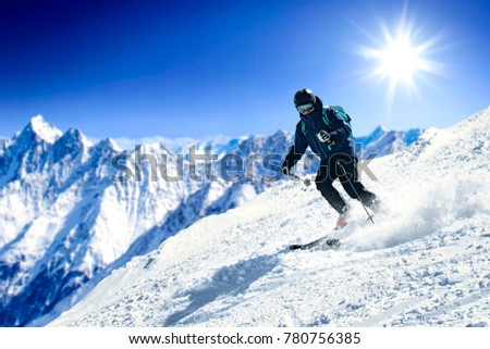 Winter time and skier. Mountains landscape  #780756385