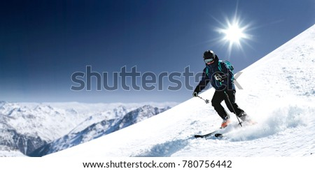 Winter time and skier. Mountains landscape  #780756442
