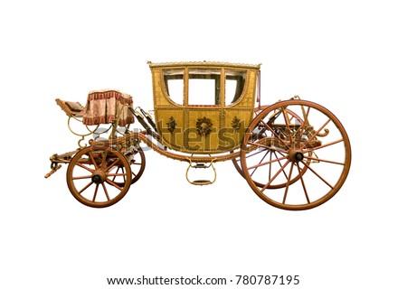 Vintage four-wheel horse drawn carriage isolated on white background Royalty-Free Stock Photo #780787195