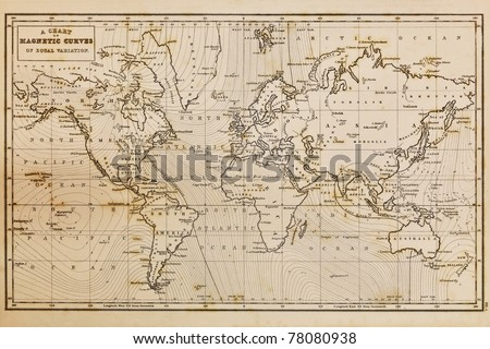 Photo of a genuine hand drawn world map, it was drawn in 1844 and therefore the countries are named as they were in the 19th century, the staining is a result of natural ageing process #78080938