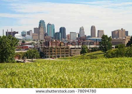 A horizontal image of downtown Kansas City.  Kansas City is one of the largest cities in the Great Plains area