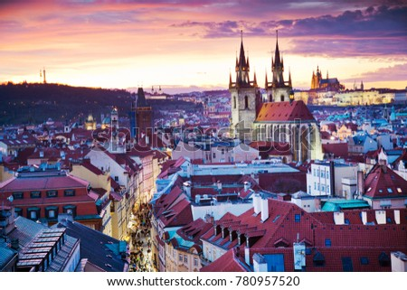 gothic Tyn cathedral, Prague castle and historical Old Town (UNESCO), Prague, Czech Republic, panorama view from Powder gate at sunset #780957520