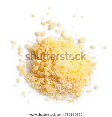 Grated Parmesan cheese (Parmigiano, Grana), pile of, top view. Clipping paths, shadows separated. Paths: https://goo.gl/16cG1d #780960172