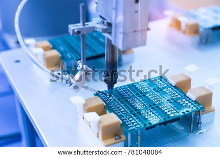soldering iron tips of automated manufacturing soldering and assembly pcb board #781048084