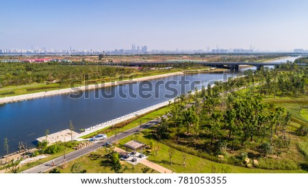 aerial view city with river #781053355